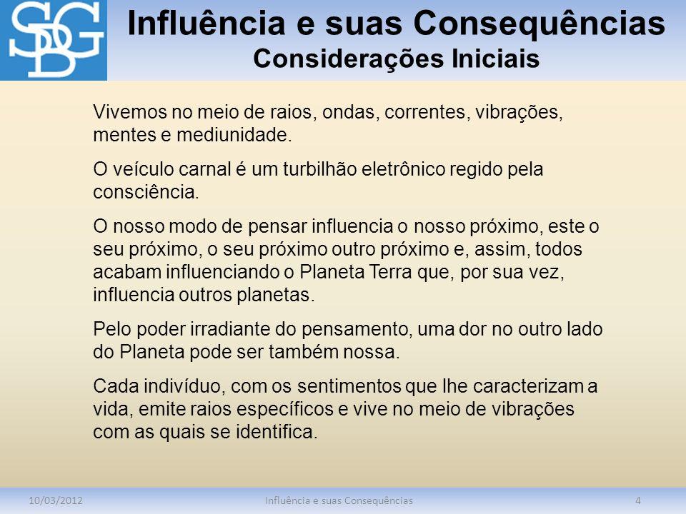 Influência e suas Consequências Considerações Iniciais 10/03/2012Influência e suas Consequências4 Vivemos no meio de raios, ondas, correntes, vibraçõe