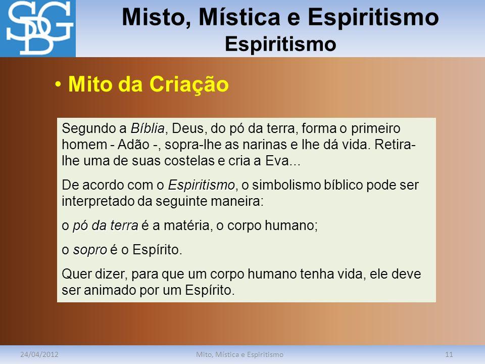 Misto, Mística e Espiritismo Espiritismo 24/04/2012Mito, Mística e Espiritismo11 Bíblia Segundo a Bíblia, Deus, do pó da terra, forma o primeiro homem
