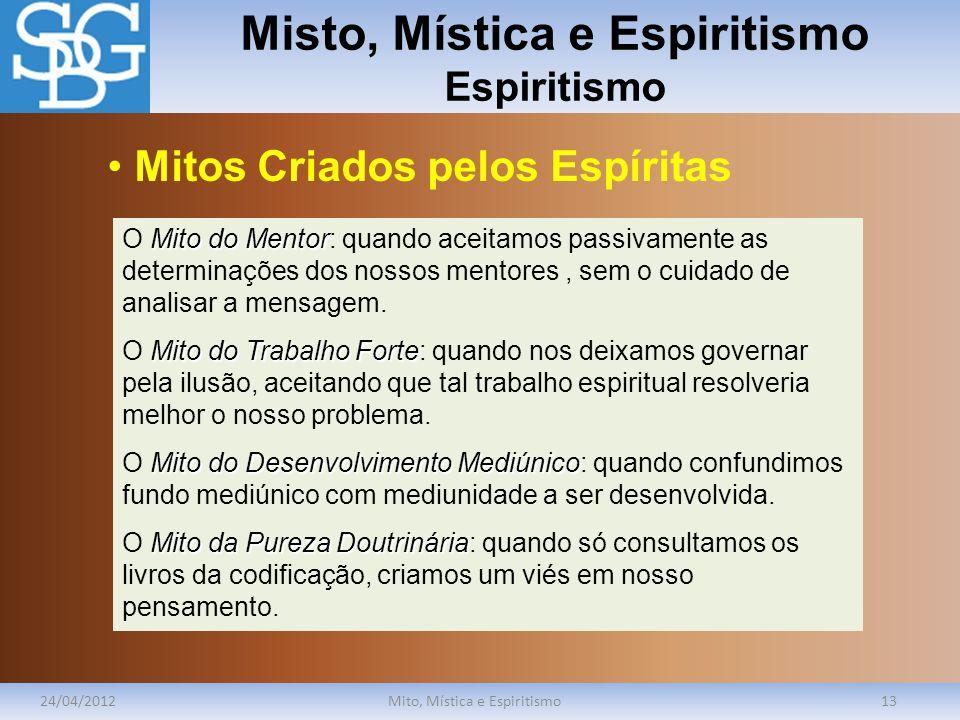 Misto, Mística e Espiritismo Espiritismo 24/04/2012Mito, Mística e Espiritismo13 Mitodo Mentor O Mito do Mentor: quando aceitamos passivamente as dete