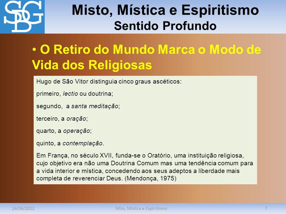 Misto, Mística e Espiritismo Sentido Profundo 24/04/2012Mito, Mística e Espiritismo7 Hugo de São Vitor distinguia cinco graus ascéticos: lectio primei
