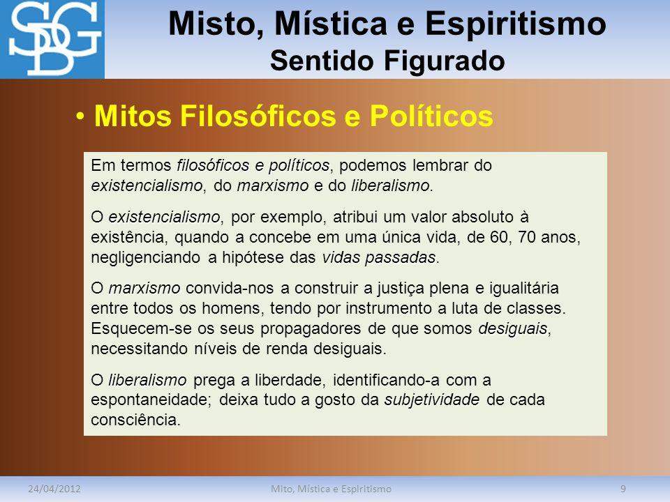 Misto, Mística e Espiritismo Sentido Figurado 24/04/2012Mito, Mística e Espiritismo9 filosóficos e políticos Em termos filosóficos e políticos, podemo