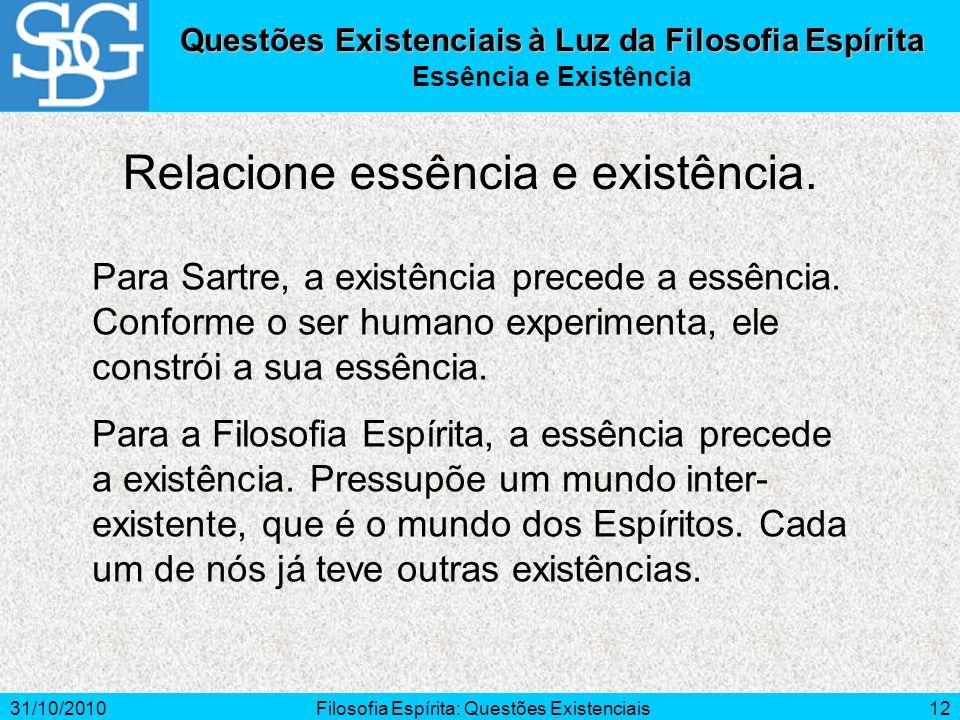 31/10/2010Filosofia Espírita: Questões Existenciais12 Questões Existenciais à Luz da Filosofia Espírita Essência e Existência Para Sartre, a existênci