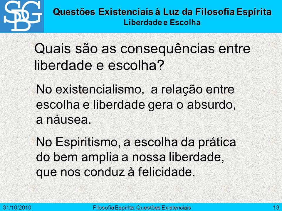31/10/2010Filosofia Espírita: Questões Existenciais13 Questões Existenciais à Luz da Filosofia Espírita Liberdade e Escolha Quais são as consequências