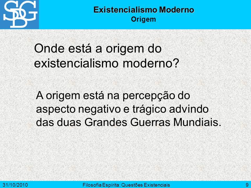 31/10/2010Filosofia Espírita: Questões Existenciais9 Onde está a origem do existencialismo moderno? Existencialismo Moderno Origem A origem está na pe