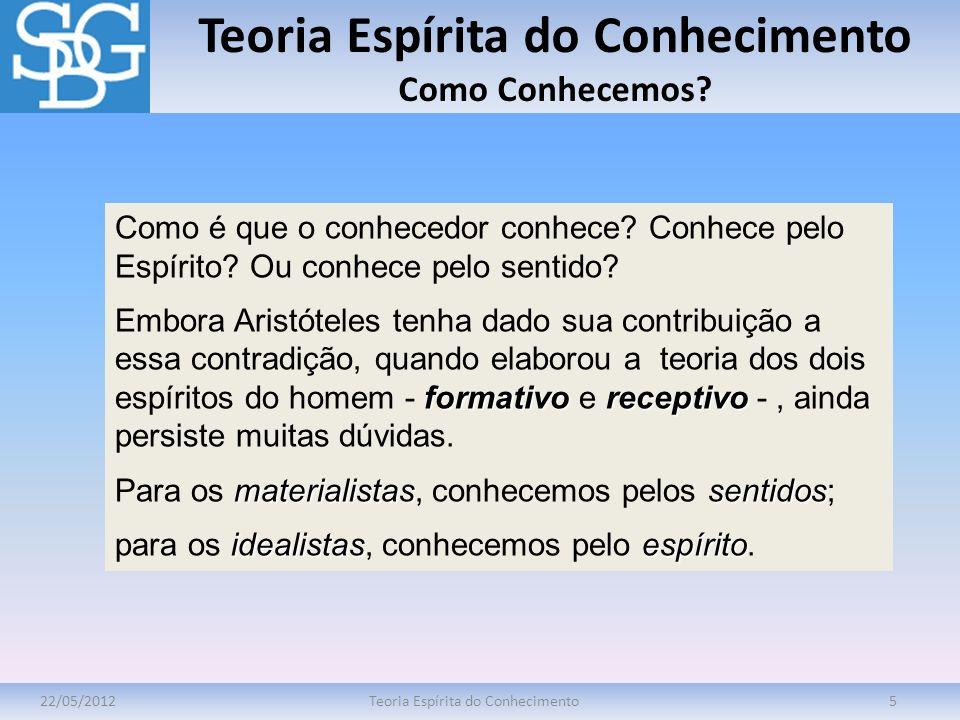 Teoria Espírita do Conhecimento Como Conhecemos? 22/05/2012Teoria Espírita do Conhecimento5 Como é que o conhecedor conhece? Conhece pelo Espírito? Ou