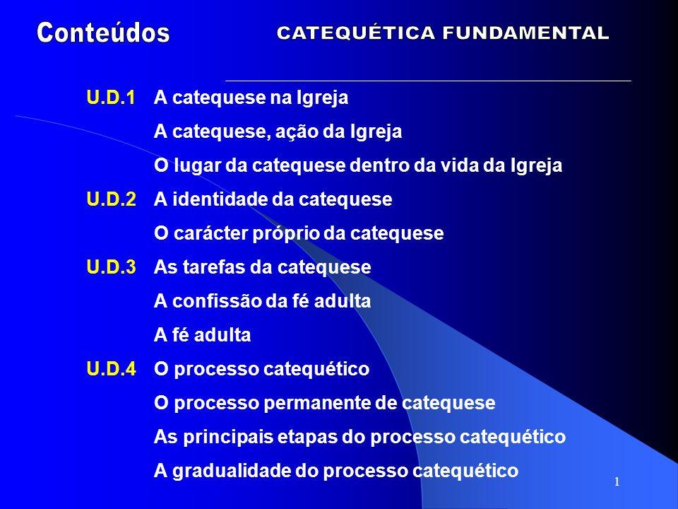 1 U.D.1A catequese na Igreja A catequese, ação da Igreja O lugar da catequese dentro da vida da Igreja U.D.2A identidade da catequese O carácter própr