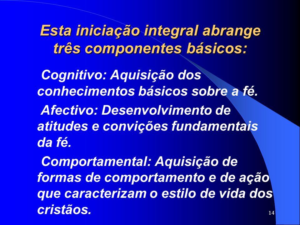 Esta iniciação integral abrange três componentes básicos: Cognitivo: Aquisição dos conhecimentos básicos sobre a fé. Afectivo: Desenvolvimento de atit