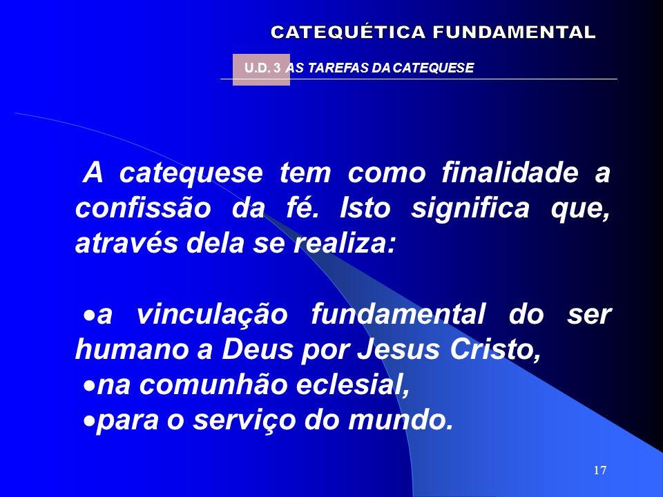 17 A catequese tem como finalidade a confissão da fé. Isto significa que, através dela se realiza: a vinculação fundamental do ser humano a Deus por J