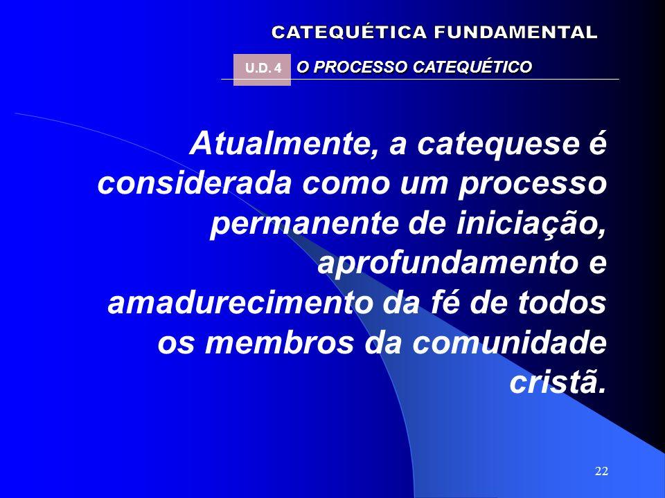 22 Atualmente, a catequese é considerada como um processo permanente de iniciação, aprofundamento e amadurecimento da fé de todos os membros da comuni