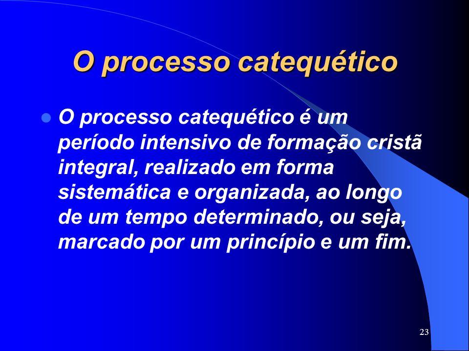 O processo catequético O processo catequético é um período intensivo de formação cristã integral, realizado em forma sistemática e organizada, ao long