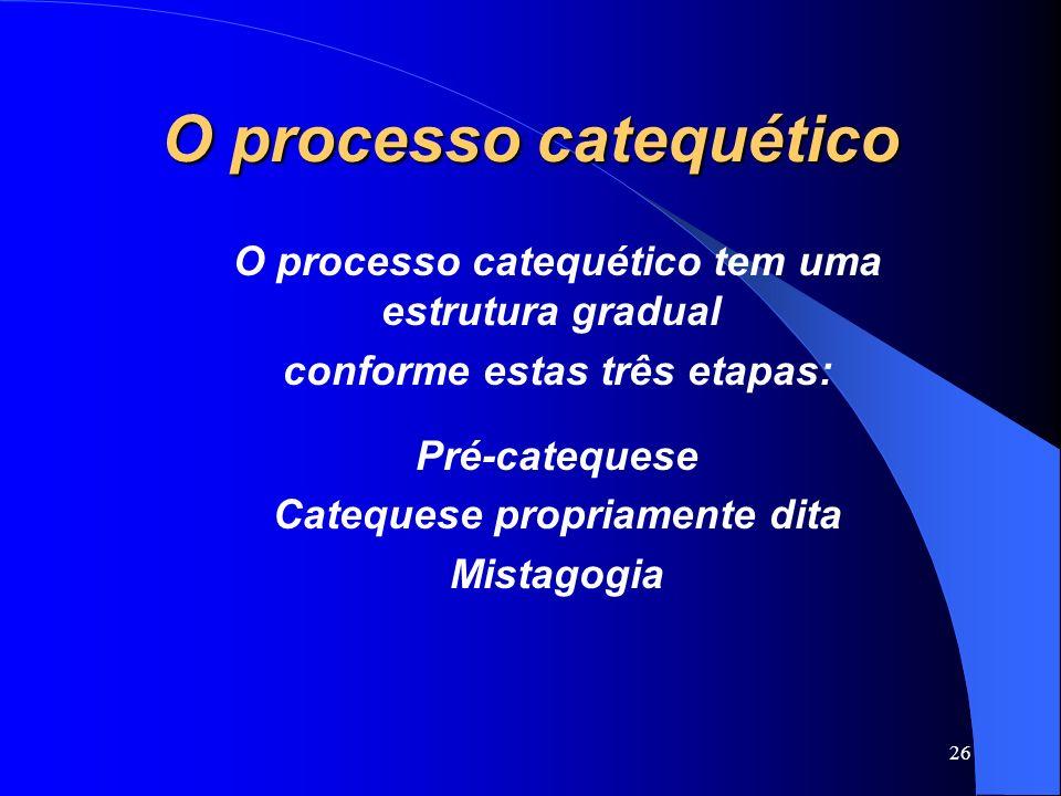O processo catequético O processo catequético tem uma estrutura gradual conforme estas três etapas: Pré-catequese Catequese propriamente dita Mistagog