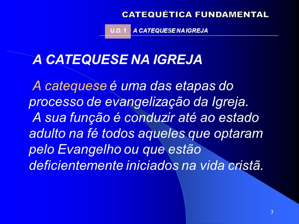 3 A CATEQUESE NA IGREJA A catequese é uma das etapas do processo de evangelização da Igreja. A sua função é conduzir até ao estado adulto na fé todos