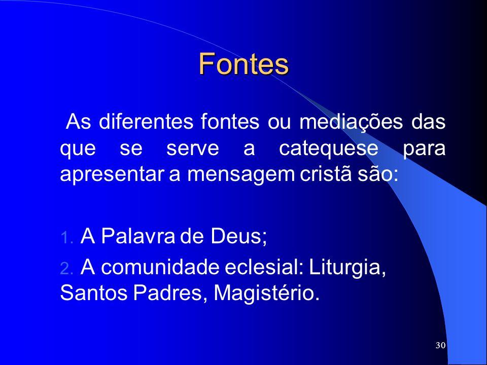 Fontes As diferentes fontes ou mediações das que se serve a catequese para apresentar a mensagem cristã são: 1. A Palavra de Deus; 2. A comunidade ecl