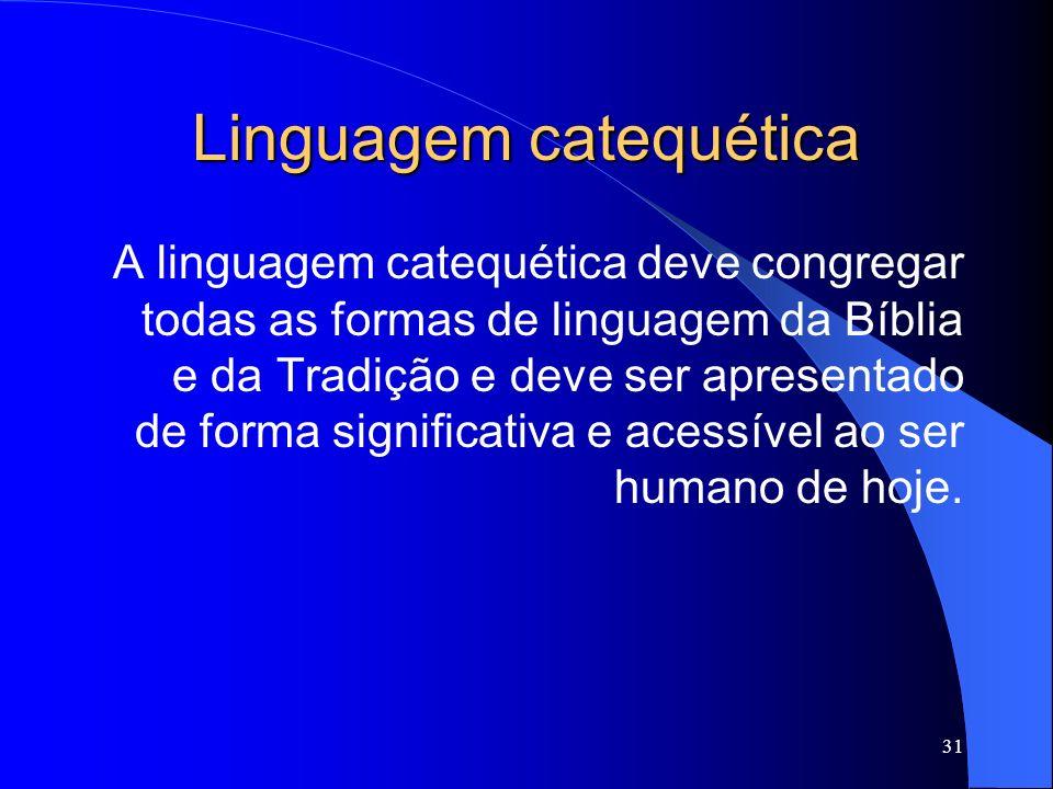 Linguagem catequética A linguagem catequética deve congregar todas as formas de linguagem da Bíblia e da Tradição e deve ser apresentado de forma sign