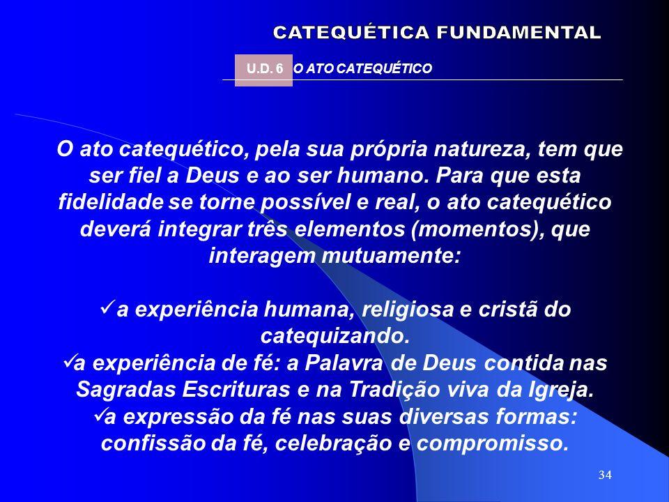 34 U.D. 6 O ATO CATEQUÉTICO O ato catequético, pela sua própria natureza, tem que ser fiel a Deus e ao ser humano. Para que esta fidelidade se torne p