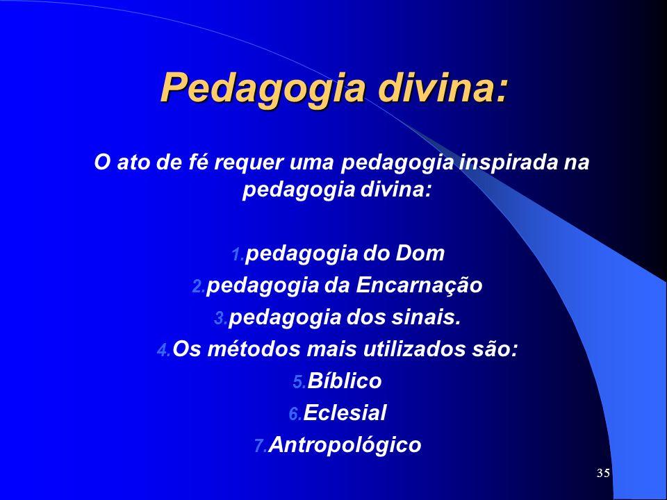 Pedagogia divina: O ato de fé requer uma pedagogia inspirada na pedagogia divina: 1. pedagogia do Dom 2. pedagogia da Encarnação 3. pedagogia dos sina