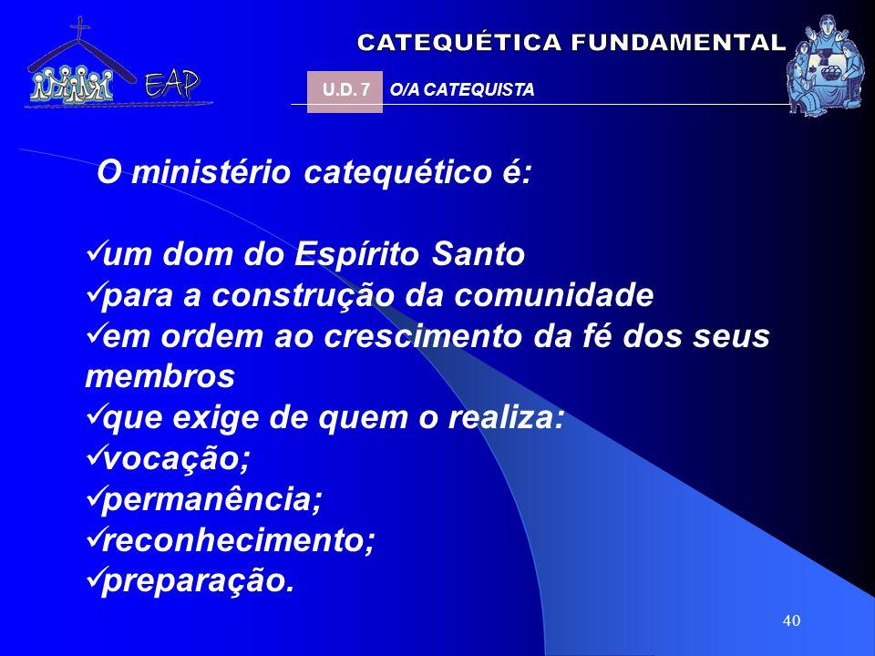 40 O ministério catequético é: um dom do Espírito Santo para a construção da comunidade em ordem ao crescimento da fé dos seus membros que exige de qu