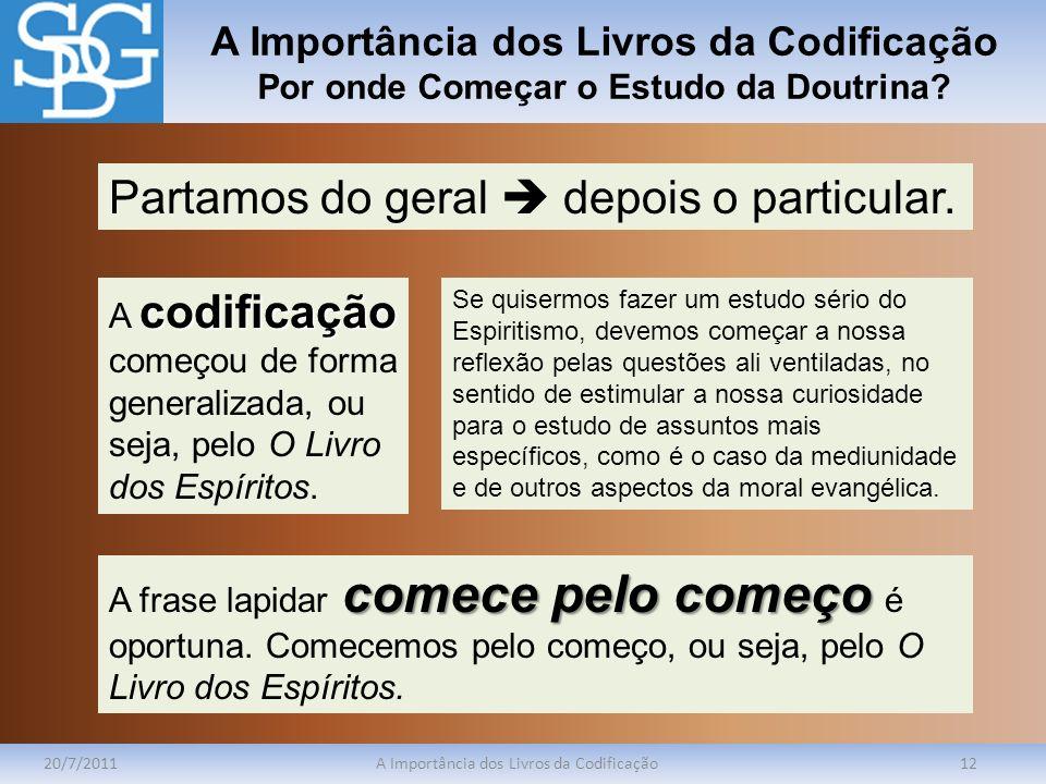 A Importância dos Livros da Codificação Por onde Começar o Estudo da Doutrina? 20/7/2011A Importância dos Livros da Codificação12 Partamos do geral de