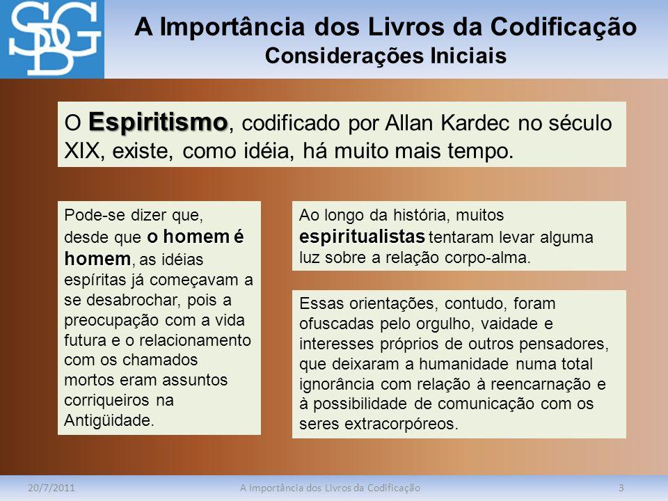 A Importância dos Livros da Codificação Considerações Iniciais 20/7/2011A Importância dos Livros da Codificação3 Espiritismo O Espiritismo, codificado