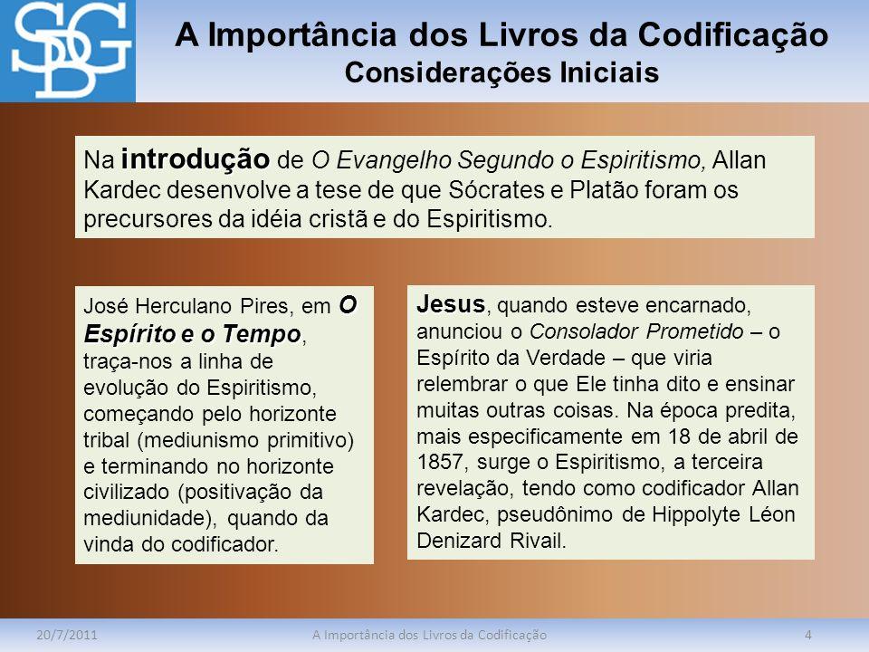 A Importância dos Livros da Codificação Felicidade da Compreensão 20/7/2011A Importância dos Livros da Codificação15 Diz o ditado que sempre chegamos tarde às verdades mais simples .