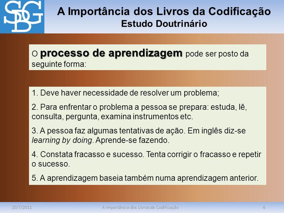 A Importância dos Livros da Codificação Estudo Doutrinário 20/7/2011A Importância dos Livros da Codificação6 processo de aprendizagem O processo de ap