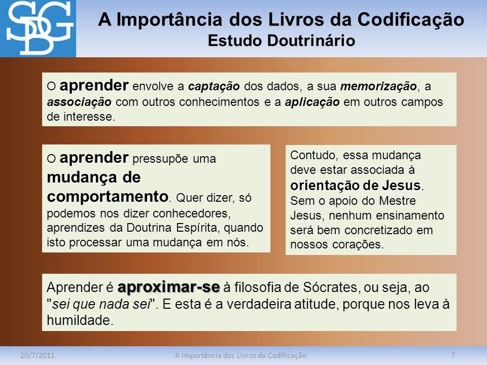 A Importância dos Livros da Codificação Estudo Doutrinário 20/7/2011A Importância dos Livros da Codificação7 aprender O aprender envolve a captação do