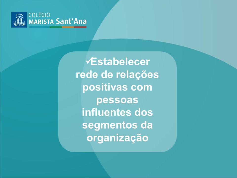 Estabelecer rede de relações positivas com pessoas influentes dos segmentos da organização