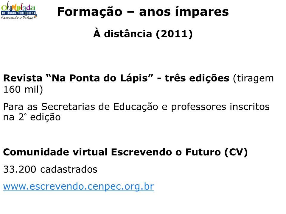 À distância (2011) Revista Na Ponta do Lápis - três edições (tiragem 160 mil) Para as Secretarias de Educação e professores inscritos na 2° edição Com