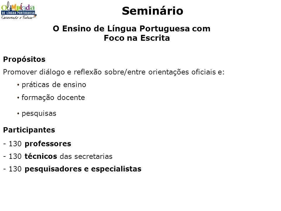 Seminário Propósitos Promover diálogo e reflexão sobre/entre orientações oficiais e: práticas de ensino formação docente pesquisas Participantes - 130