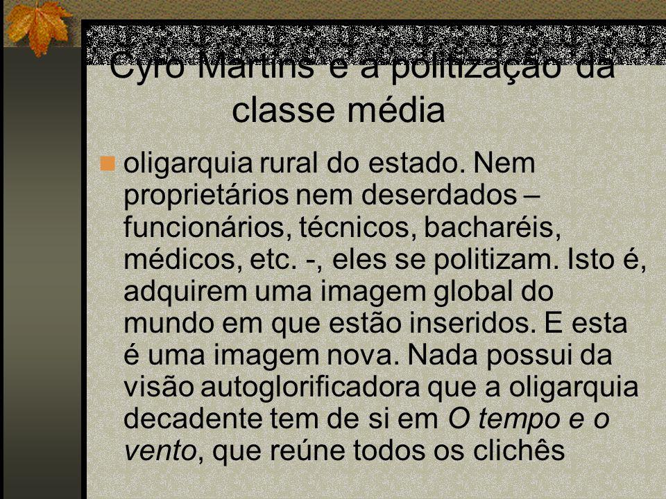 Cyro Martins e a politização da classe média oligarquia rural do estado. Nem proprietários nem deserdados – funcionários, técnicos, bacharéis, médicos