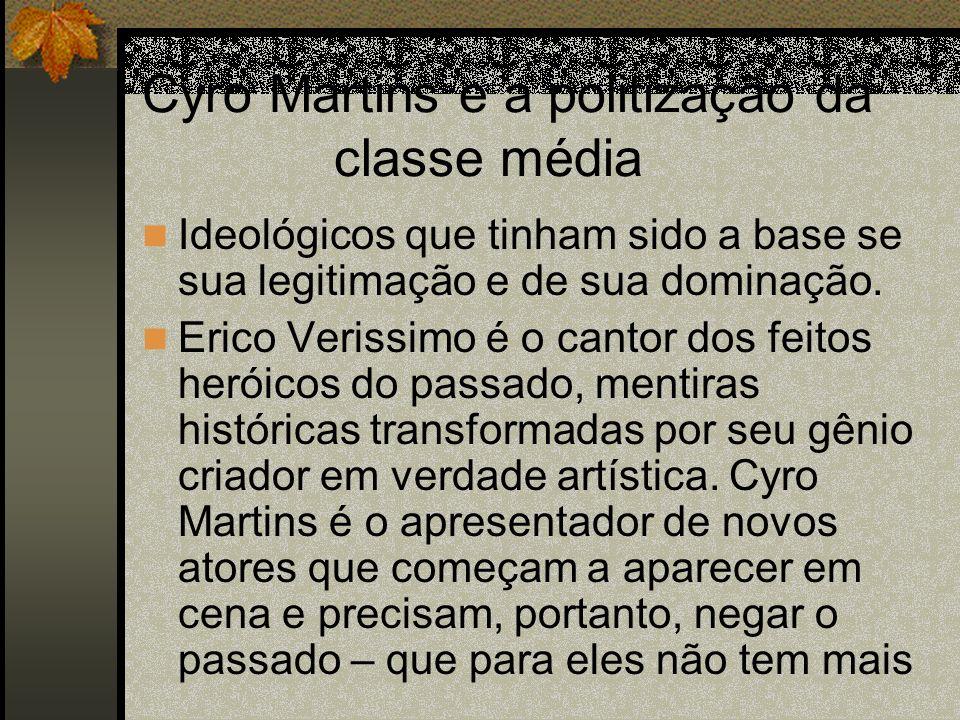 Cyro Martins e a politização da classe média Ideológicos que tinham sido a base se sua legitimação e de sua dominação. Erico Verissimo é o cantor dos