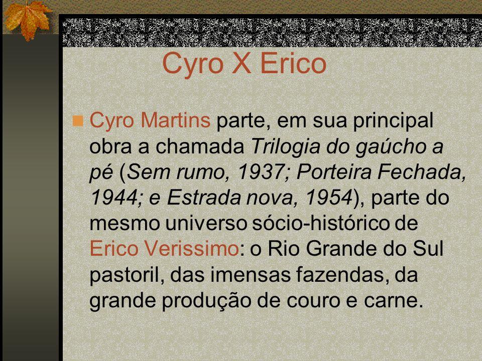 Cyro X Erico Cyro Martins parte, em sua principal obra a chamada Trilogia do gaúcho a pé (Sem rumo, 1937; Porteira Fechada, 1944; e Estrada nova, 1954