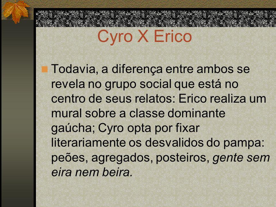 Cyro X Erico Todavia, a diferença entre ambos se revela no grupo social que está no centro de seus relatos: Erico realiza um mural sobre a classe domi