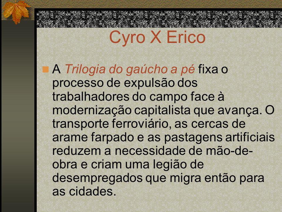 Cyro X Erico A Trilogia do gaúcho a pé fixa o processo de expulsão dos trabalhadores do campo face à modernização capitalista que avança. O transporte