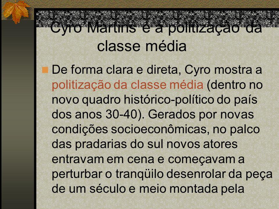 Cyro Martins e a politização da classe média De forma clara e direta, Cyro mostra a politização da classe média (dentro no novo quadro histórico-polít