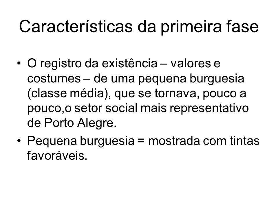 Características da primeira fase O registro da existência – valores e costumes – de uma pequena burguesia (classe média), que se tornava, pouco a pouc