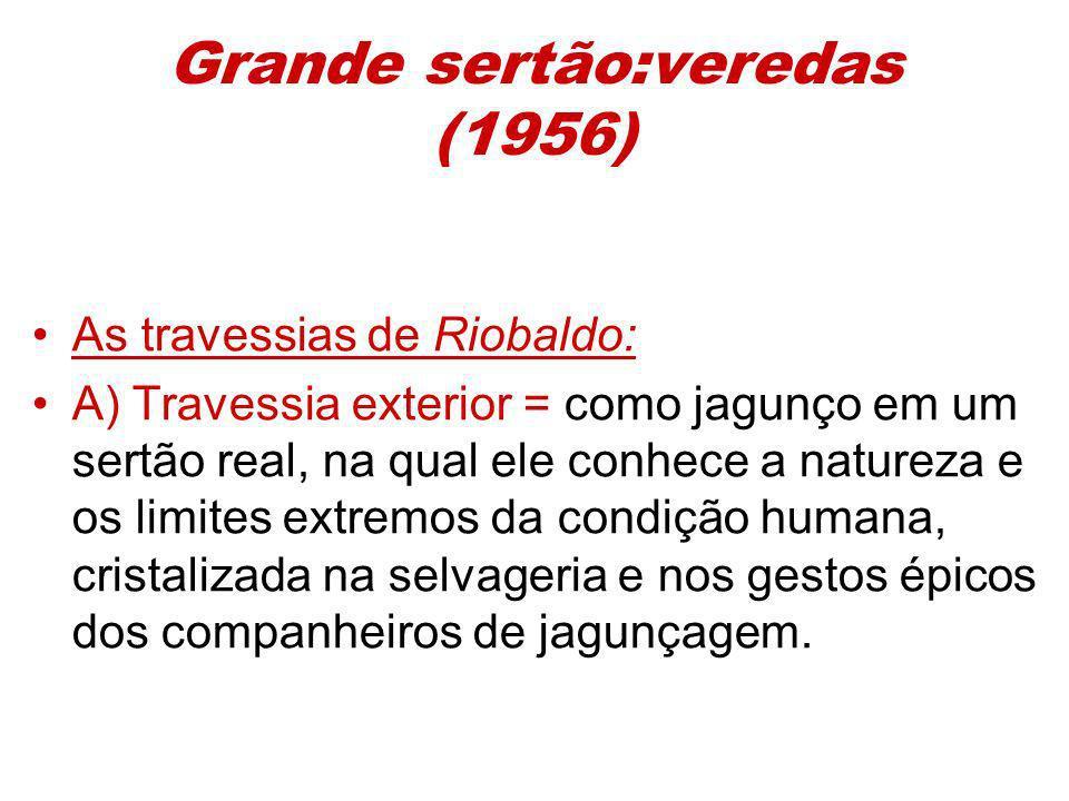 Grande sertão:veredas (1956) As travessias de Riobaldo: A) Travessia exterior = como jagunço em um sertão real, na qual ele conhece a natureza e os li