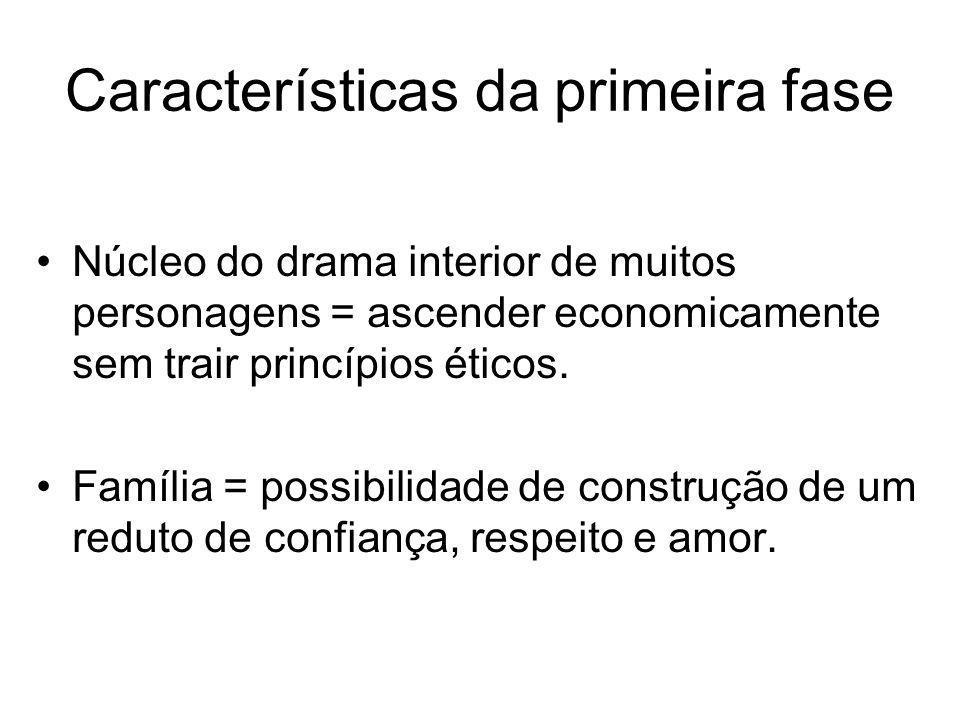 Características da primeira fase Núcleo do drama interior de muitos personagens = ascender economicamente sem trair princípios éticos. Família = possi
