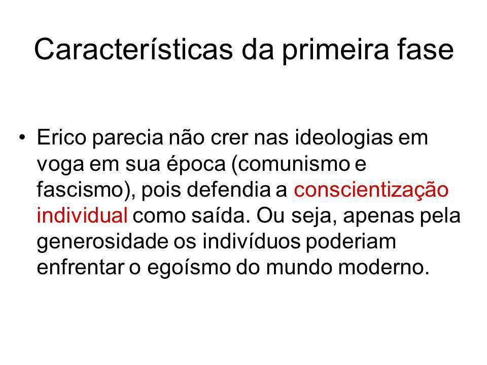 Características da primeira fase Erico parecia não crer nas ideologias em voga em sua época (comunismo e fascismo), pois defendia a conscientização in