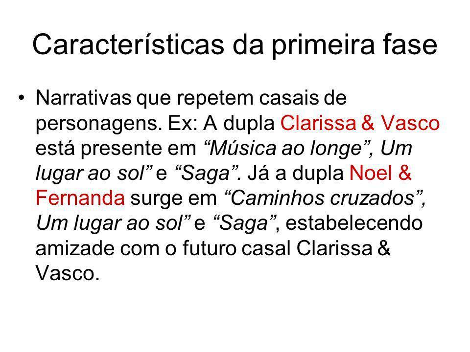 Características da primeira fase Narrativas que repetem casais de personagens. Ex: A dupla Clarissa & Vasco está presente em Música ao longe, Um lugar