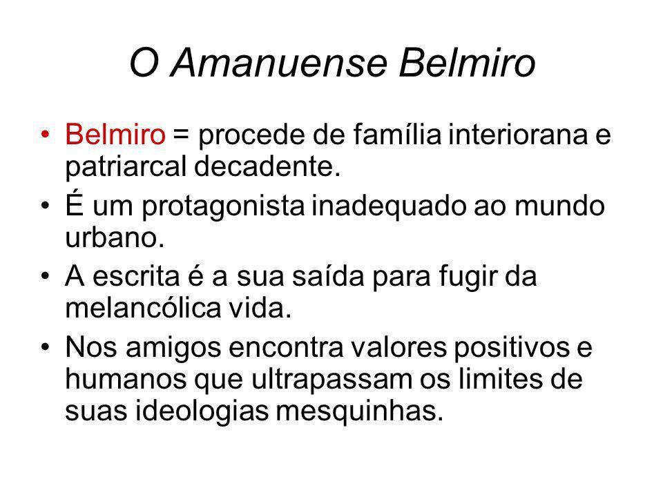 O Amanuense Belmiro Belmiro = procede de família interiorana e patriarcal decadente. É um protagonista inadequado ao mundo urbano. A escrita é a sua s