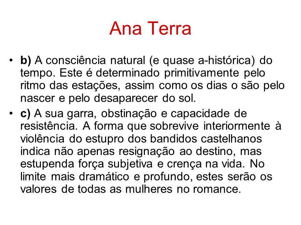 Ana Terra b) A consciência natural (e quase a-histórica) do tempo. Este é determinado primitivamente pelo ritmo das estações, assim como os dias o são
