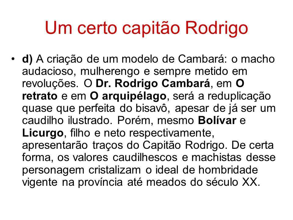 Um certo capitão Rodrigo d) A criação de um modelo de Cambará: o macho audacioso, mulherengo e sempre metido em revoluções. O Dr. Rodrigo Cambará, em