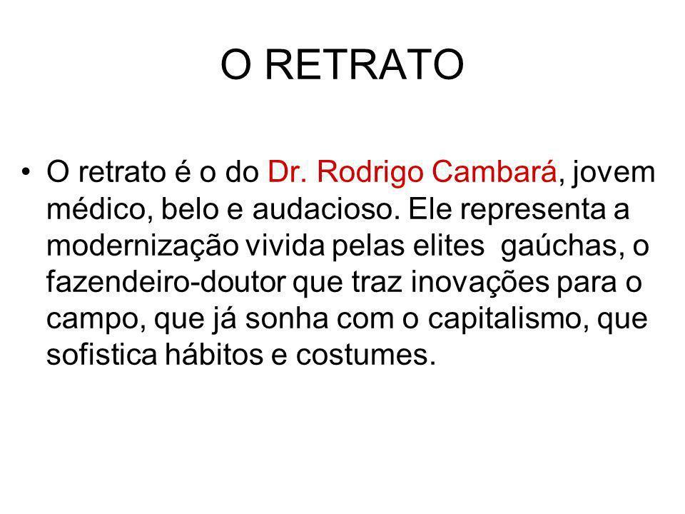O RETRATO O retrato é o do Dr. Rodrigo Cambará, jovem médico, belo e audacioso. Ele representa a modernização vivida pelas elites gaúchas, o fazendeir