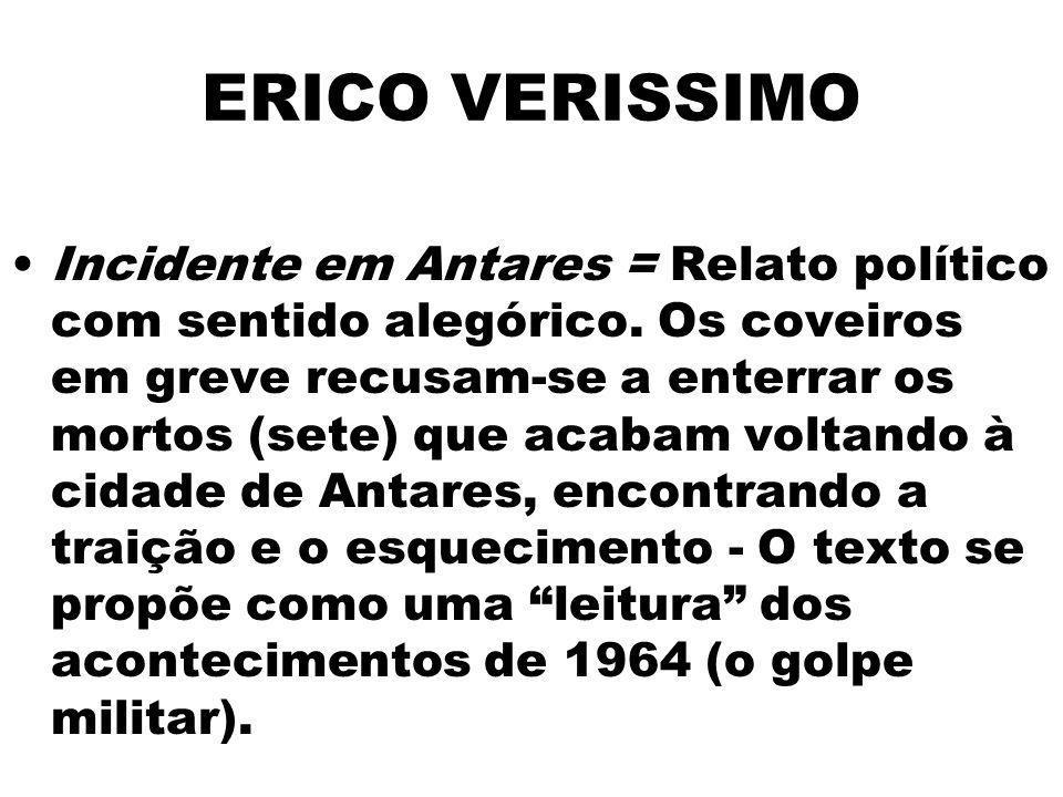 ERICO VERISSIMO Incidente em Antares = Relato político com sentido alegórico. Os coveiros em greve recusam-se a enterrar os mortos (sete) que acabam v