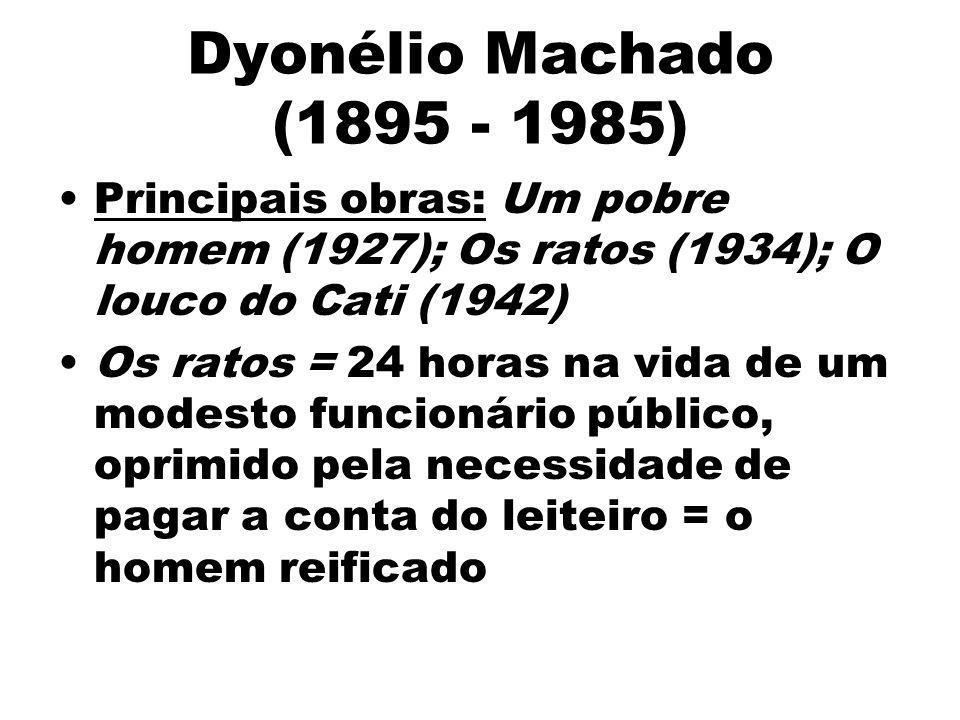 Dyonélio Machado (1895 - 1985) Principais obras: Um pobre homem (1927); Os ratos (1934); O louco do Cati (1942) Os ratos = 24 horas na vida de um mode