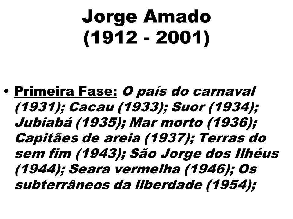 Jorge Amado (1912 - 2001) Primeira Fase: O país do carnaval (1931); Cacau (1933); Suor (1934); Jubiabá (1935); Mar morto (1936); Capitães de areia (19