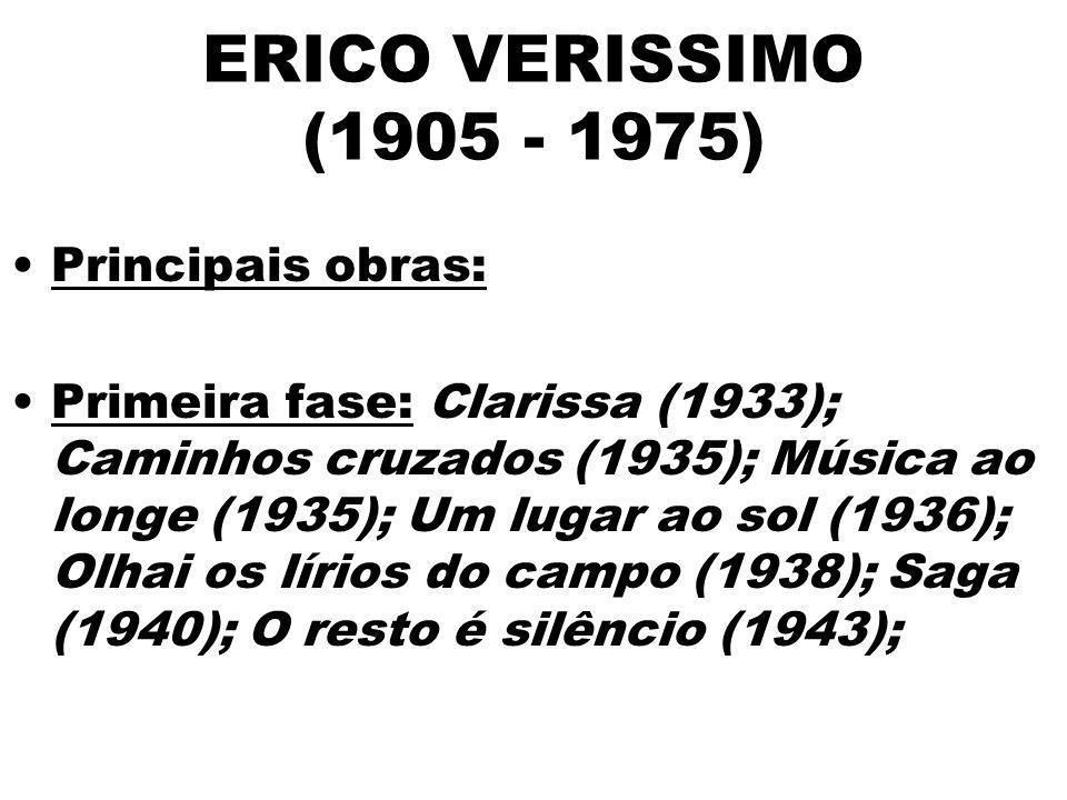 ERICO VERISSIMO (1905 - 1975) Principais obras: Primeira fase: Clarissa (1933); Caminhos cruzados (1935); Música ao longe (1935); Um lugar ao sol (193