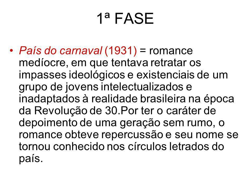 1ª FASE País do carnaval (1931) = romance medíocre, em que tentava retratar os impasses ideológicos e existenciais de um grupo de jovens intelectualiz