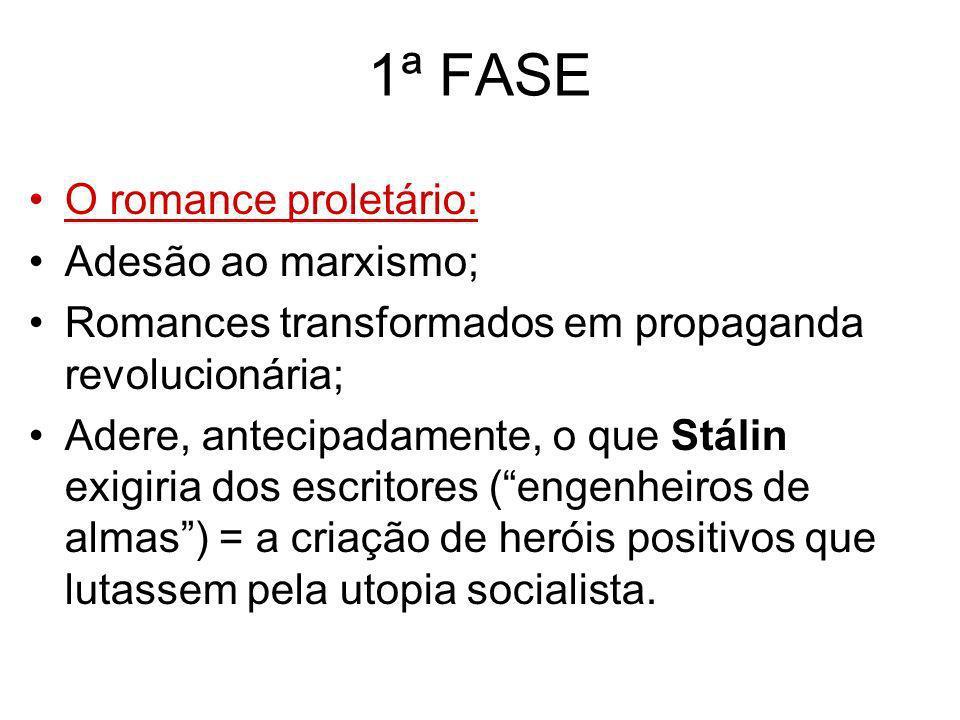 1ª FASE O romance proletário: Adesão ao marxismo; Romances transformados em propaganda revolucionária; Adere, antecipadamente, o que Stálin exigiria d